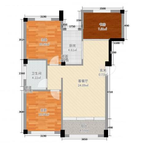经纬壹号3室2厅1卫1厨66.25㎡户型图