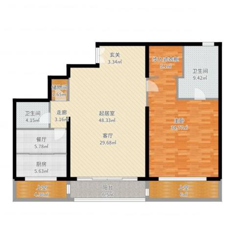 万达大湖公馆1室1厅2卫1厨158.00㎡户型图