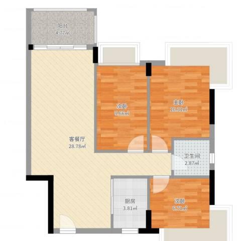 盈彩美地3室2厅1卫1厨84.00㎡户型图