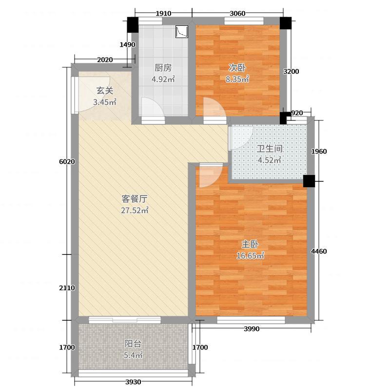 保利西塘越85.56㎡非标准层1FB6户型2室2厅1卫1厨