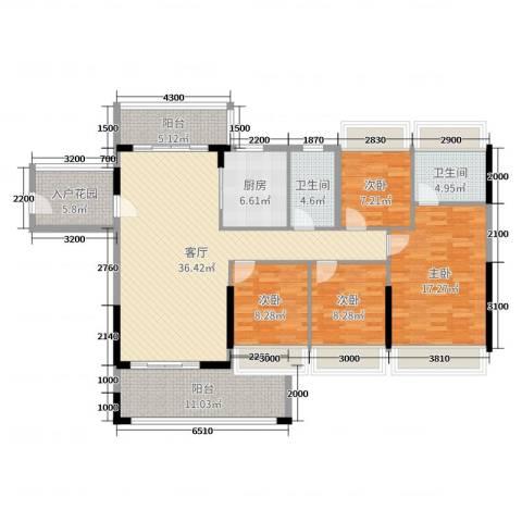 嘉豪园二期4室1厅2卫1厨141.00㎡户型图