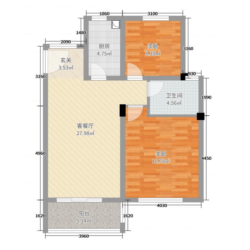 保利西塘越86.08㎡非标准层2-7FB3户型2室2厅1卫1厨