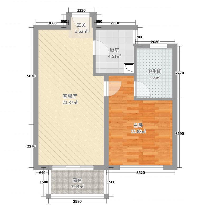 保利西塘越61.64㎡非标准层8FB8户型1室1厅1卫1厨