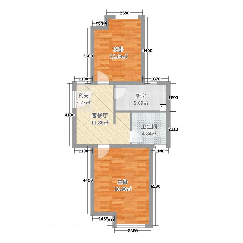 保利西塘越61.35㎡二期公寓非标准层8F-B25户型2室2厅1卫1厨