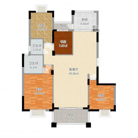天明豪庭4室2厅2卫1厨158.00㎡户型图