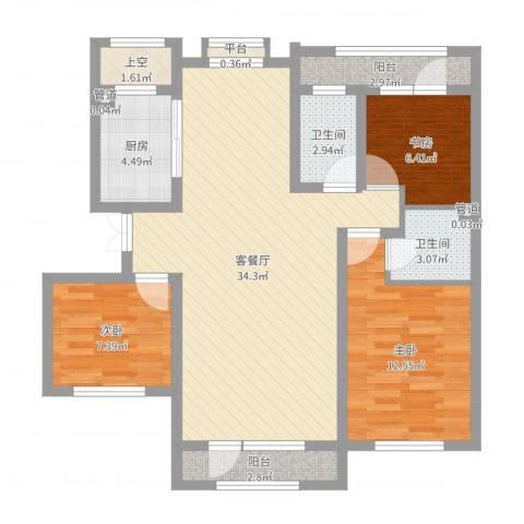 地恒 托斯卡纳3室2厅2卫1厨99.00㎡户型图