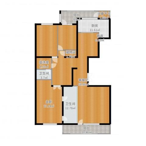 五矿万科・如园1室2厅2卫1厨225.00㎡户型图