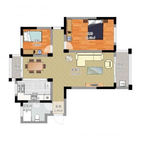 海韵花园2室2厅1卫1厨112.00㎡户型图