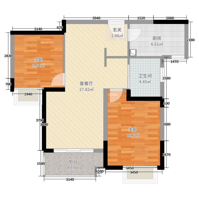 盛世・孔雀城84.00㎡C高户型2室2厅1卫1厨