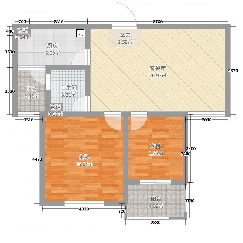 浙信上河85.00㎡B-8户型2室2厅1卫1厨