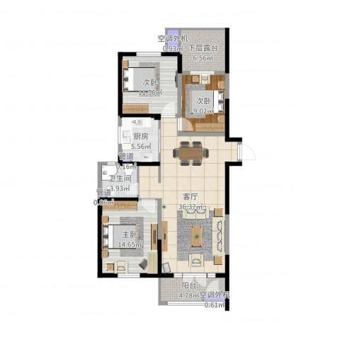河东万达广场3室1厅1卫1厨118.00㎡户型图