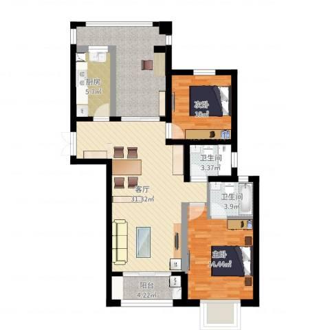 瑞景国际2室1厅2卫1厨108.00㎡户型图
