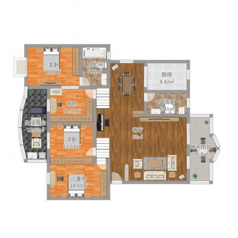 法苑小区4室3厅3卫1厨229.00㎡户型图