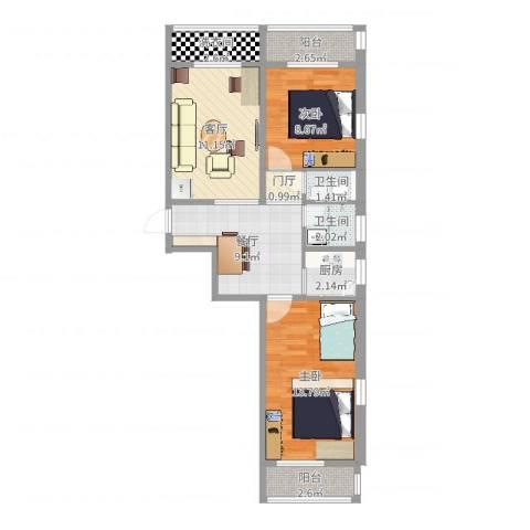 浦口西里2室2厅2卫1厨71.00㎡户型图