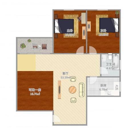 嘉怡花苑2室1厅1卫1厨103.00㎡户型图