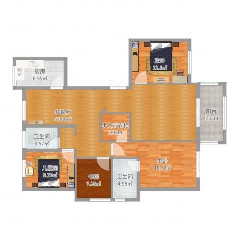 春江花城4室2厅2卫1厨142.00㎡户型图