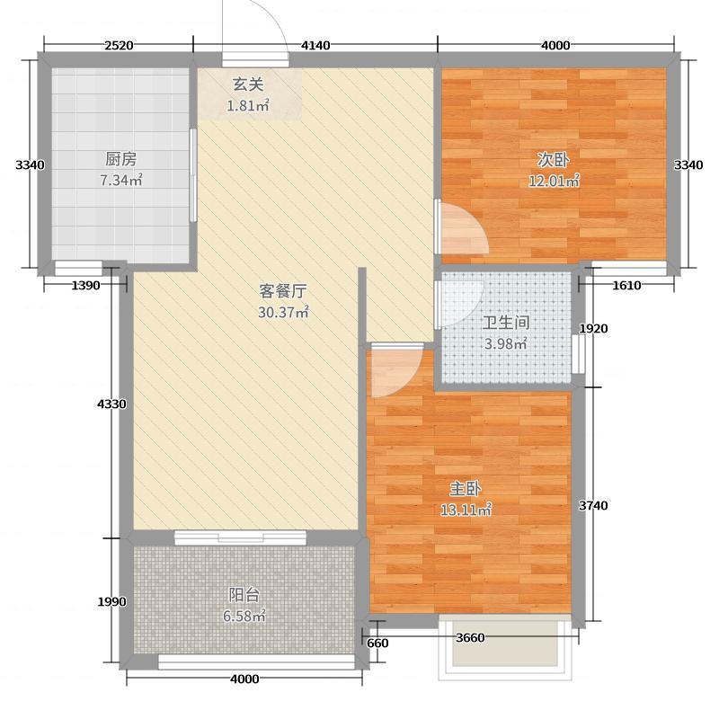海悦名门93.91㎡A1户型2室2厅1卫1厨