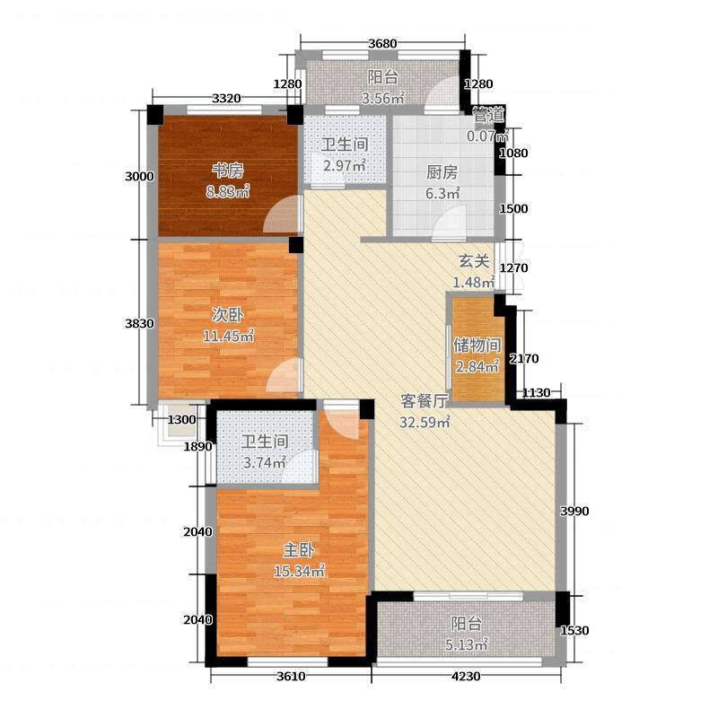 大观花园114.00㎡一期B5户型3室3厅2卫1厨