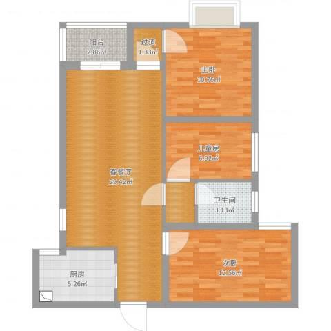 沭阳大唐世家3号楼023室2厅1卫1厨90.00㎡户型图