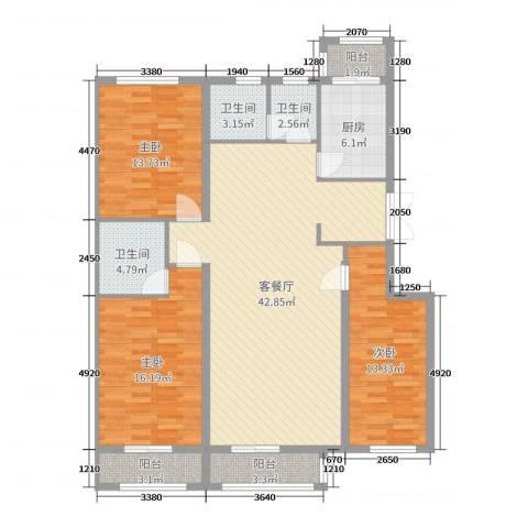 荣泰尚都3室2厅3卫1厨135.00㎡户型图