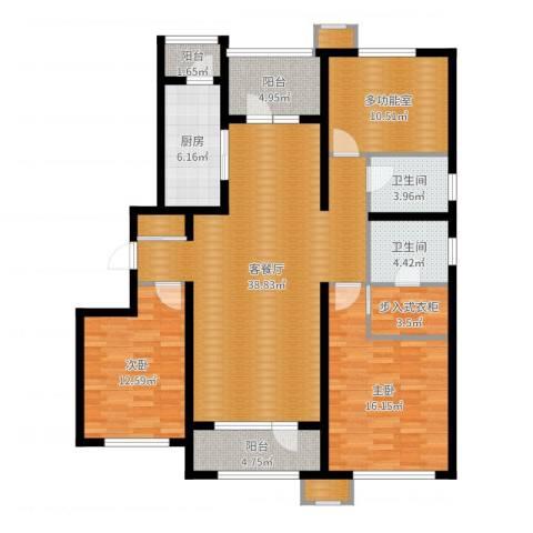 中海银海熙岸2室2厅2卫1厨137.00㎡户型图