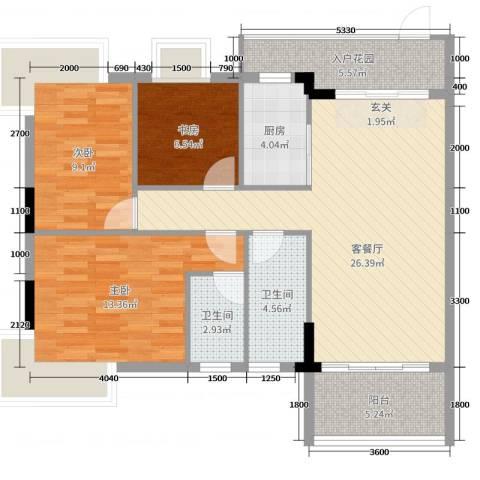 哈��小城二期3室2厅2卫1厨93.00㎡户型图