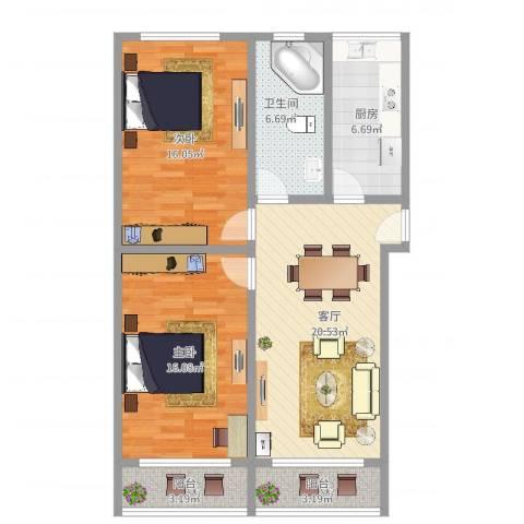 控江五村小区2室1厅1卫1厨91.00㎡户型图