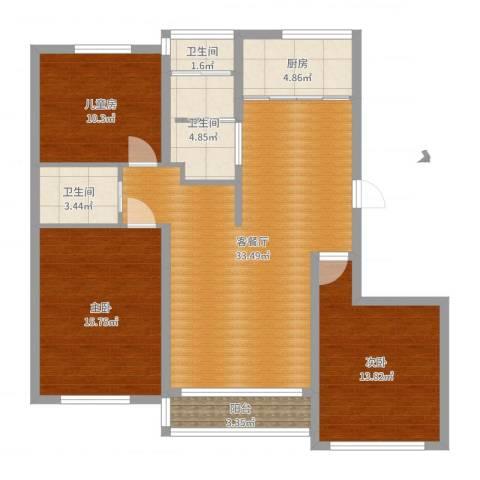 格兰春天3室2厅3卫1厨114.00㎡户型图