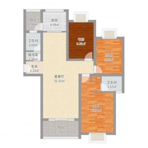 世好国际花园3室4厅2卫1厨110.00㎡户型图