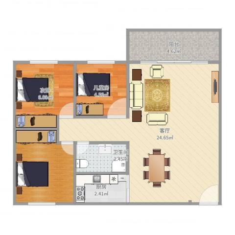 龙福花园2室1厅1卫1厨65.00㎡户型图