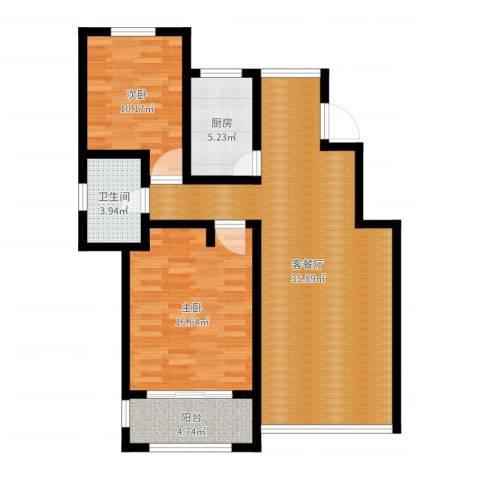 星河蓝湾2室2厅1卫1厨96.00㎡户型图