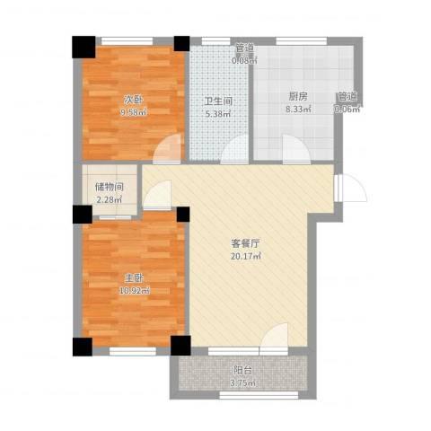 海创半山壹号2室2厅1卫1厨76.00㎡户型图
