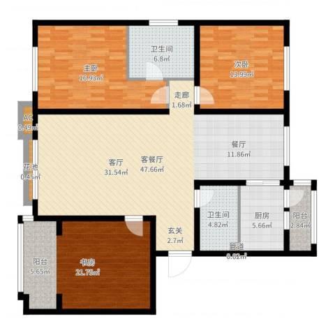 银湖馨苑3室2厅2卫1厨121.40㎡户型图