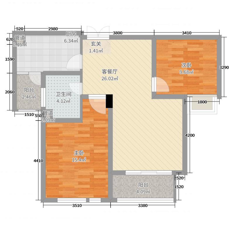 大观花园86.00㎡27#楼A户型2室2厅1卫1厨
