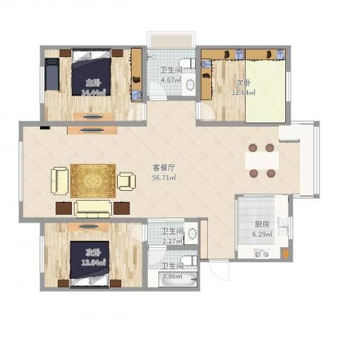 泛美华庭3室2厅3卫1厨143.00㎡户型图