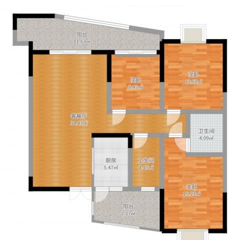 世纪嘉苑3室2厅2卫1厨130.00㎡户型图