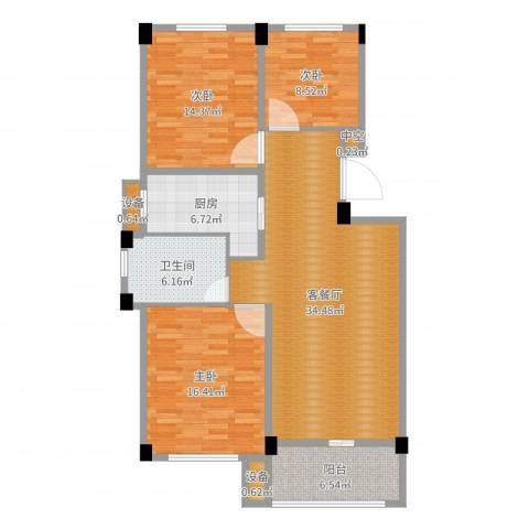 锦麟瓜渚御景园3室2厅3卫2厨118.00㎡户型图