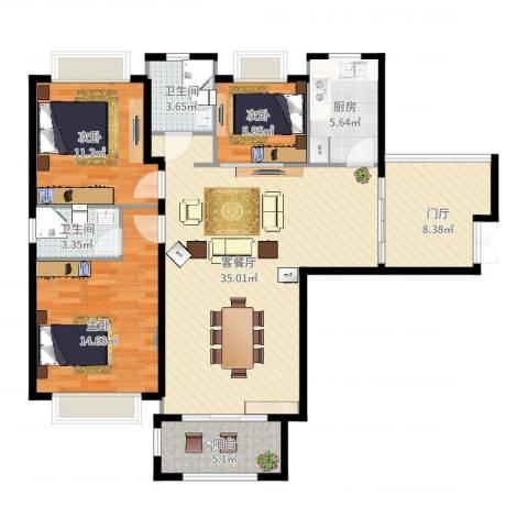 淮矿馥邦天下3室2厅2卫1厨129.00㎡户型图