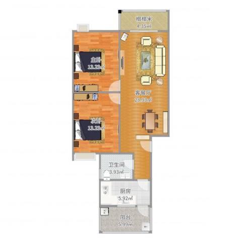 翰林尚城2室2厅1卫1厨75.58㎡户型图