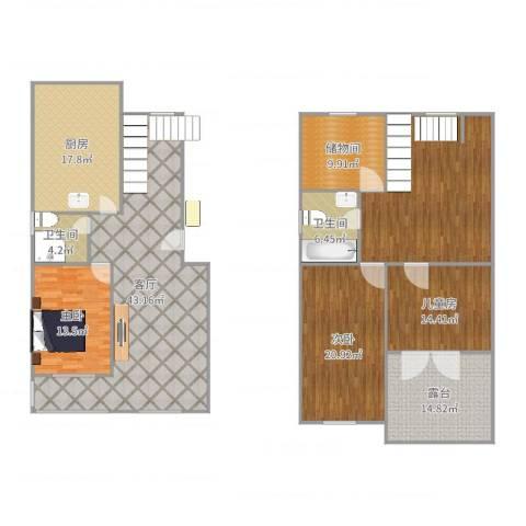 王府温馨公寓3室1厅2卫1厨173.03㎡户型图