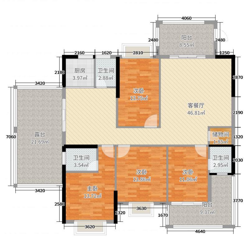 上品花园195.15㎡2栋14-17层04户型4室4厅3卫1厨