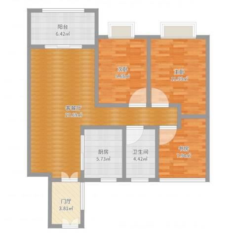 博威黄金海岸3室2厅1卫1厨97.00㎡户型图
