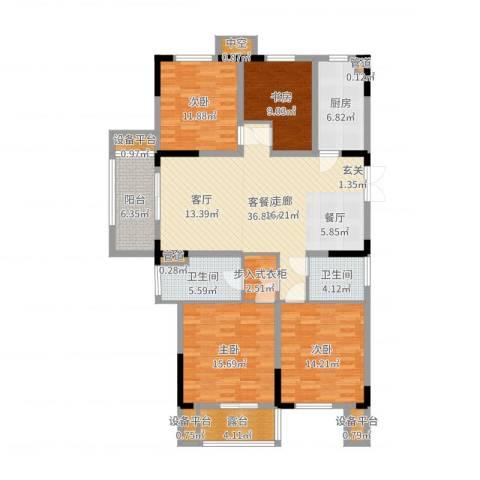 日月明园4室2厅2卫1厨151.00㎡户型图