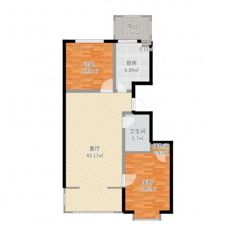 富丽国际2室1厅1卫1厨119.00㎡户型图