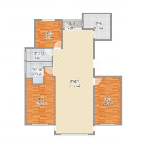 半岛公馆3室2厅2卫1厨169.00㎡户型图