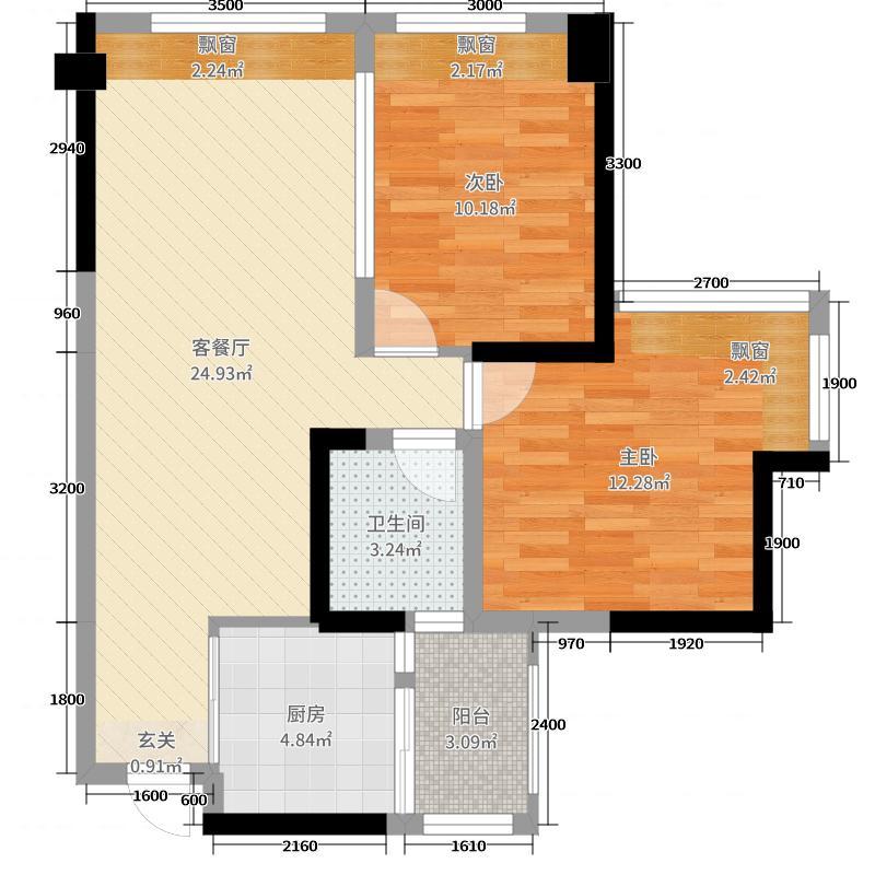 时代青江Ⅱ60.21㎡E4'户型2室2厅1卫1厨