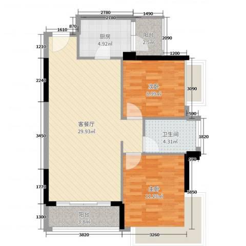 丽丰棕榈彩虹2室2厅1卫1厨87.00㎡户型图