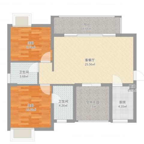 丽水佳园2室2厅2卫1厨89.00㎡户型图