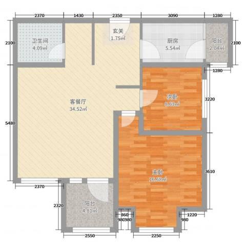 华鼎泰富公馆2室2厅1卫1厨76.32㎡户型图