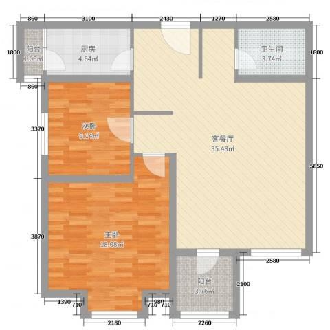 华鼎泰富公馆2室2厅1卫1厨75.91㎡户型图